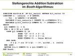 stellengerechte addition subtraktion im booth algorithmus