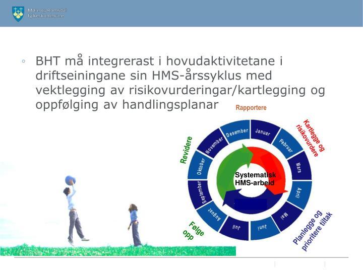 BHT må integrerast i hovudaktivitetane i driftseiningane sin HMS-årssyklus med