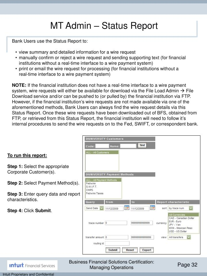 MT Admin – Status Report