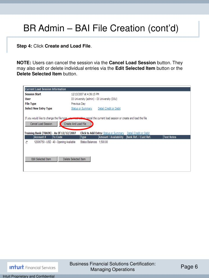 BR Admin – BAI File Creation (cont'd)