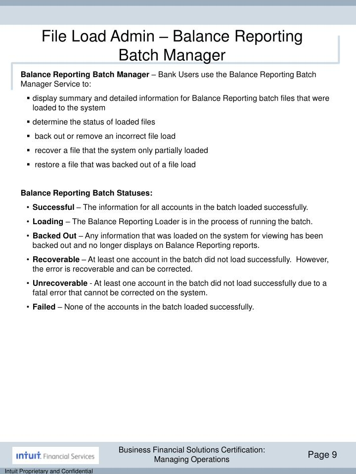 File Load Admin – Balance Reporting Batch Manager