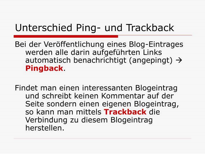 Unterschied ping und trackback