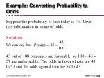 example converting probability to odds