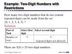 example two digit numbers with restrictions