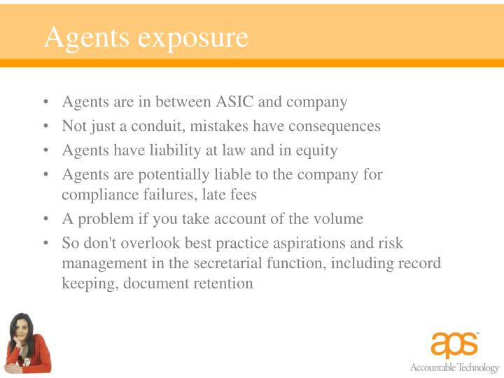 Agents exposure