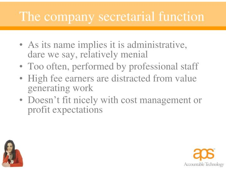 The company secretarial function