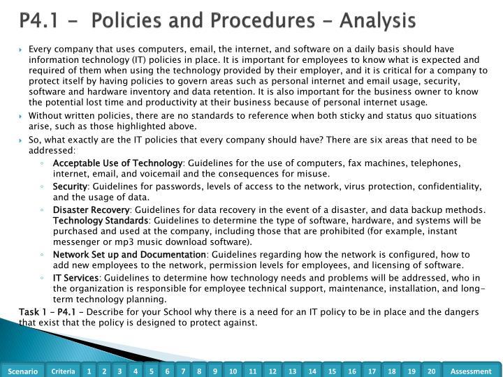 P4.1 -  Policies and Procedures - Analysis