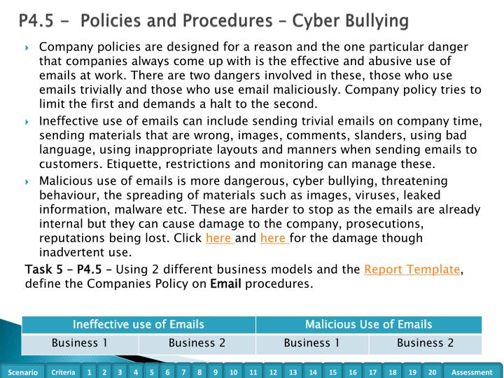 P4.5 -  Policies and Procedures – Cyber Bullying