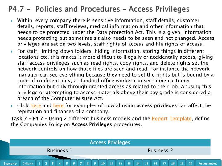 P4.7 -  Policies and Procedures – Access Privileges
