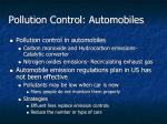pollution control automobiles