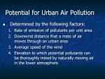 potential for urban air pollution