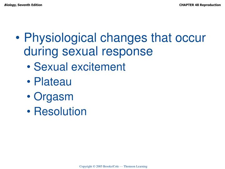 Physiological changes that occur during sexual response