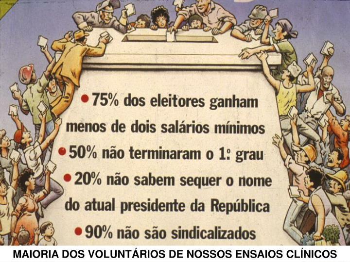 MAIORIA DOS VOLUNTÁRIOS DE NOSSOS ENSAIOS CLÍNICOS