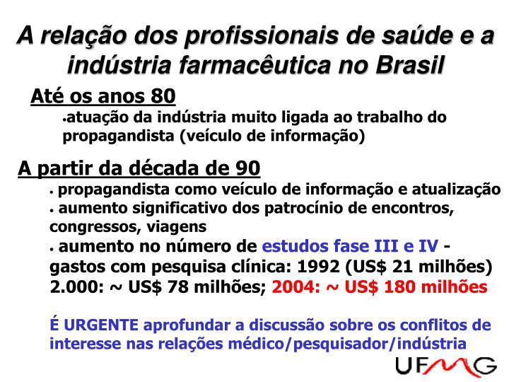A relação dos profissionais de saúde e a indústria farmacêutica no Brasil