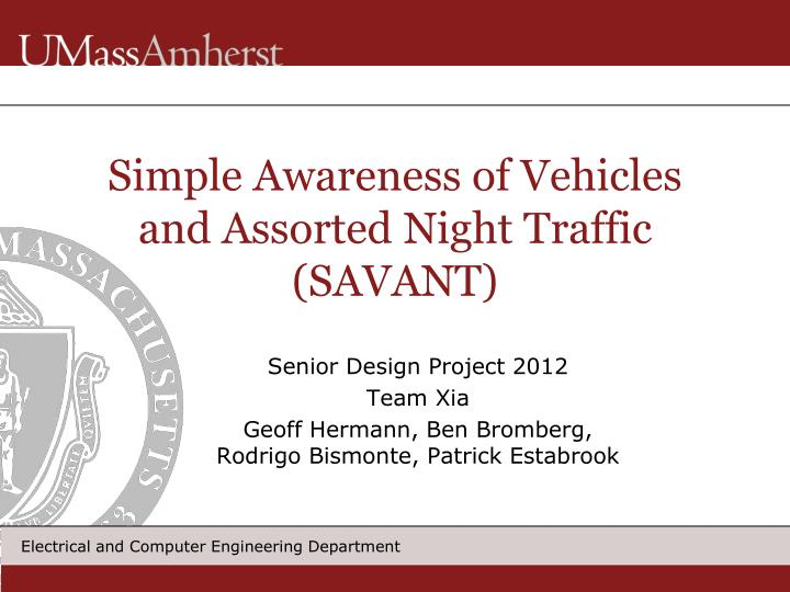 Simple awareness of vehicles and assorted night traffic savant