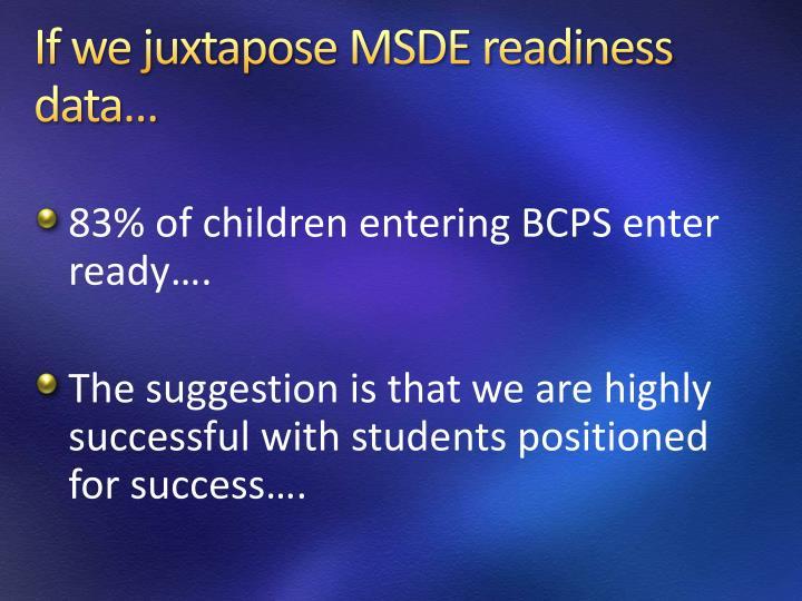 If we juxtapose MSDE readiness data…