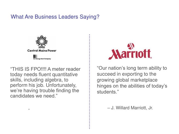 What Are Business Leaders Saying?