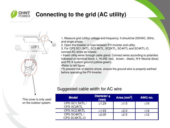 Connecting to the grid (AC utility)
