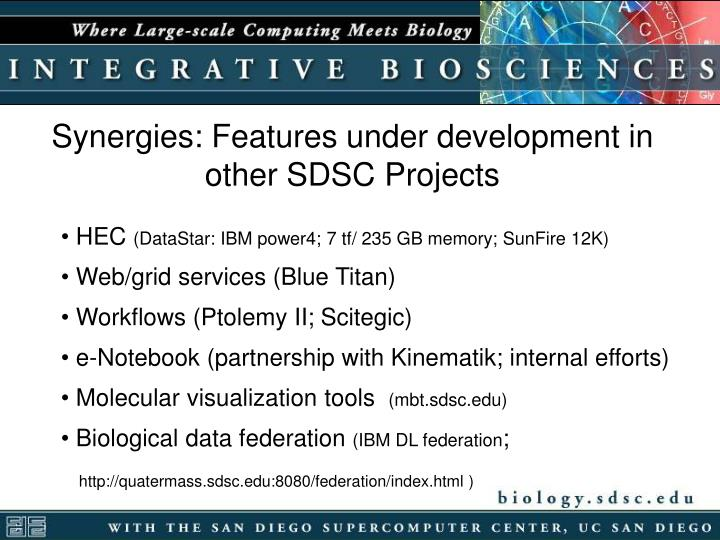 Synergies: Features under development in other SDSC Projects
