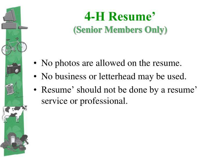 4-H Resume'