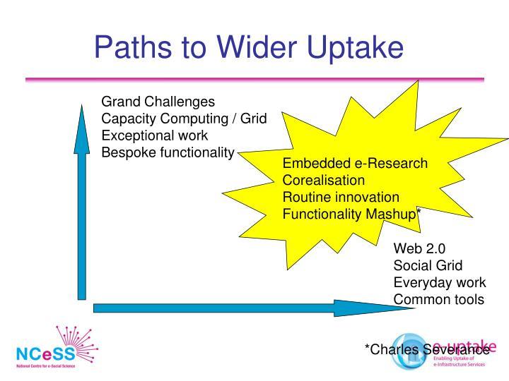 Paths to Wider Uptake
