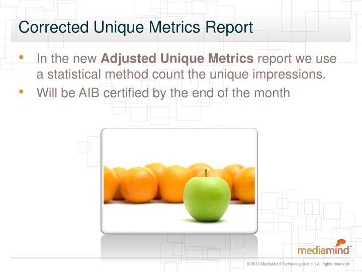 Corrected unique metrics report