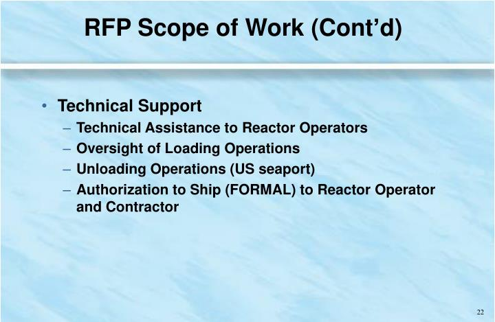 RFP Scope of Work (Cont'd)