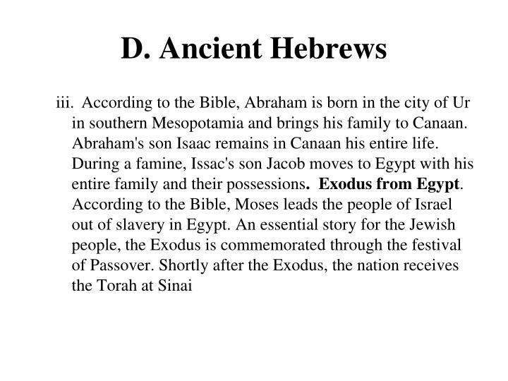 D. Ancient Hebrews