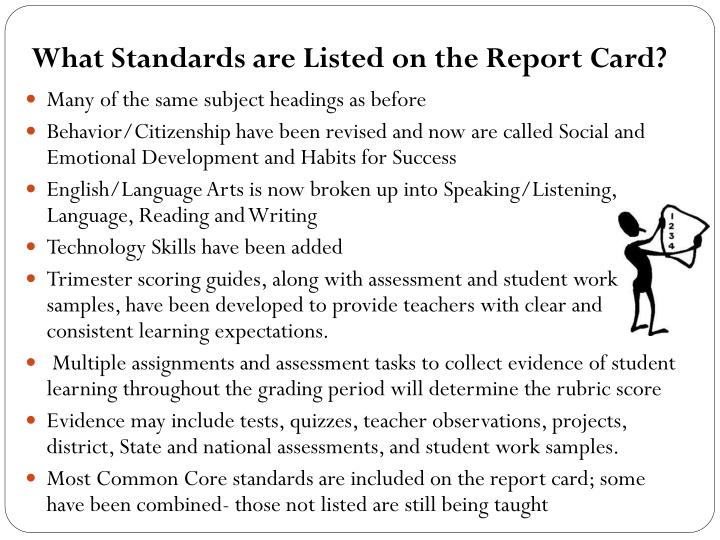 What Standards are Listed on the Report Card?