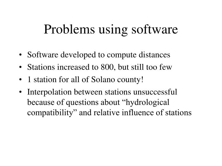 Problems using software