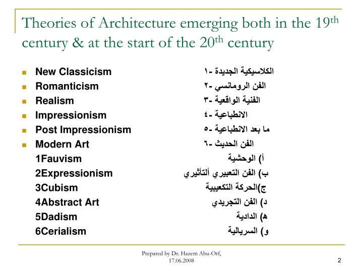Theories of architecture emerging both in the 19 th century at the start of the 20 th century