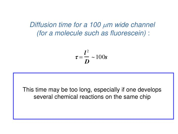 Diffusion time for a 100