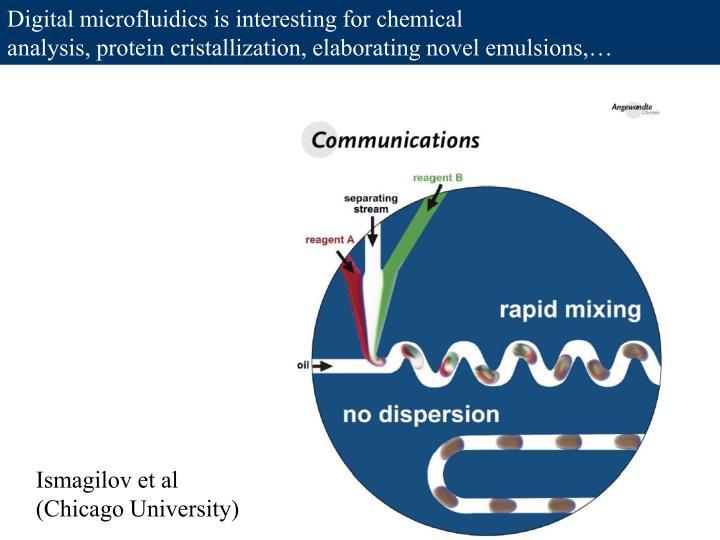 Digital microfluidics is interesting for chemical