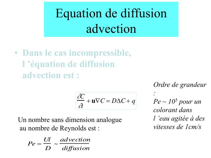 Equation de diffusion advection