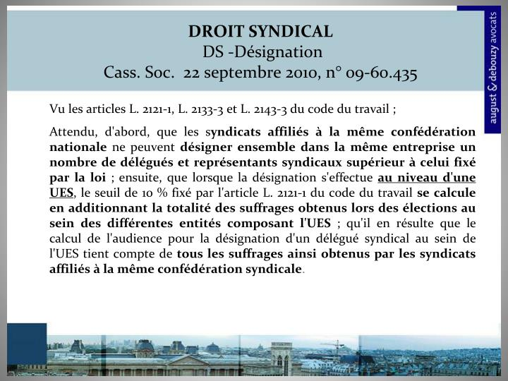 DROIT SYNDICAL
