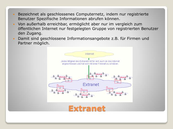 Bezeichnet als geschlossenes Computernetz, indem nur registrierte Benutzer Spezifische Informationen abrufen können.