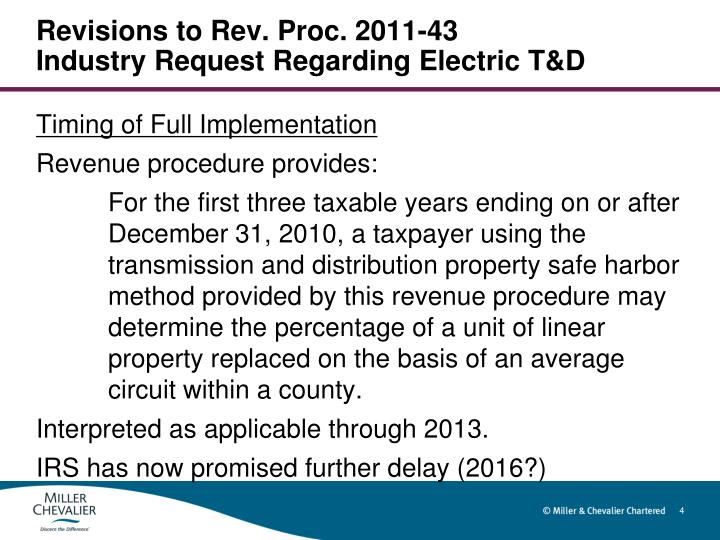 Revisions to Rev. Proc. 2011-43