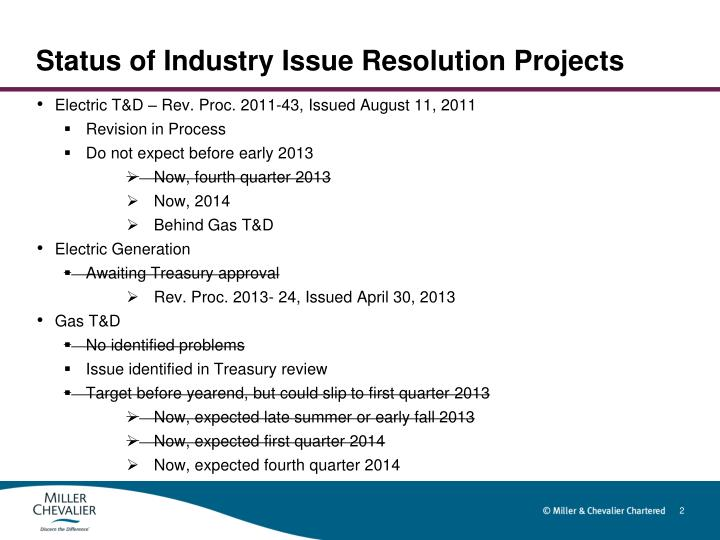 Status of industry issue resolution projects