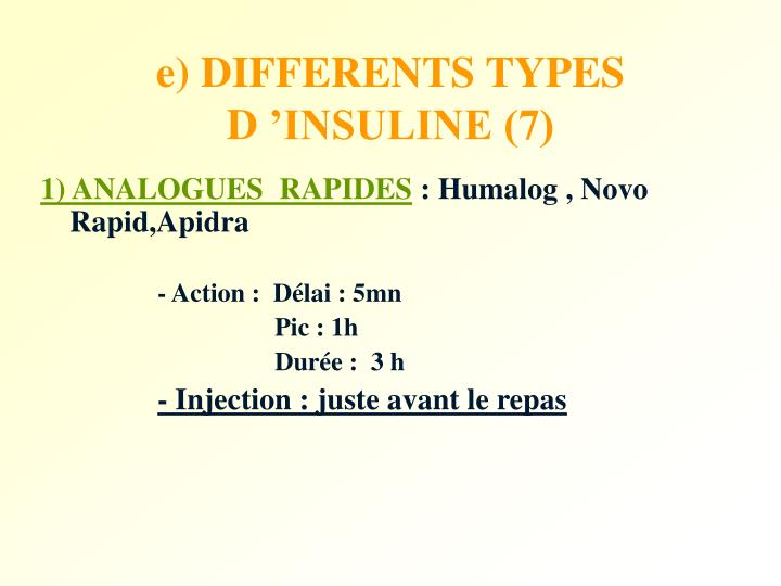 e) DIFFERENTS TYPES