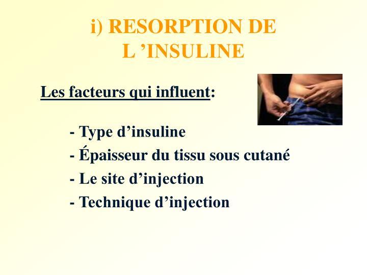 i) RESORPTION DE L'INSULINE