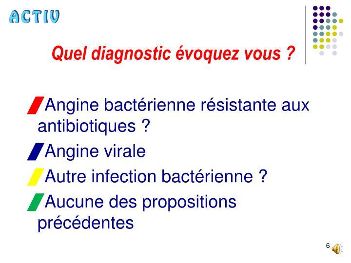 Quel diagnostic évoquez vous ?