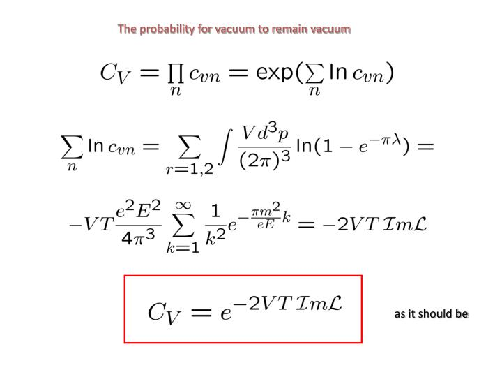 The probability for vacuum to remain vacuum
