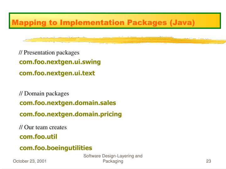 Mapping to Implementation Packages (Java)
