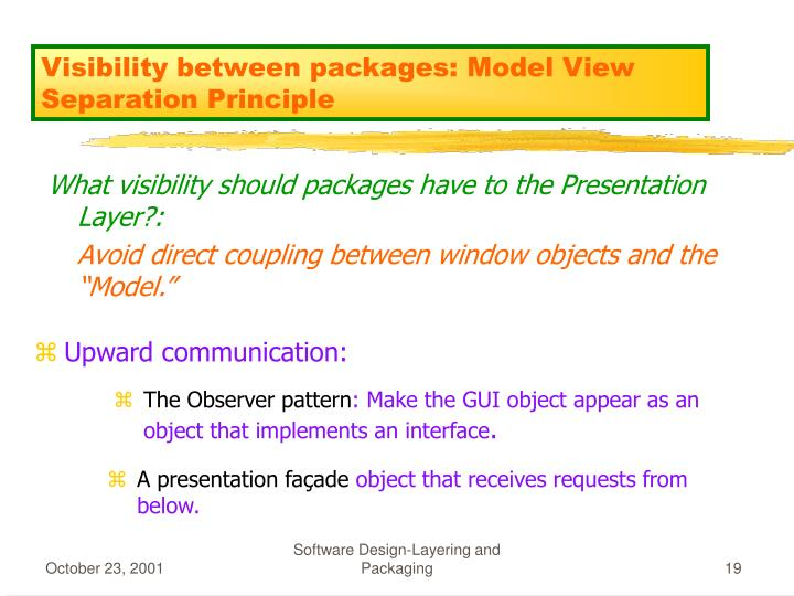 Visibility between packages: Model View Separation Principle