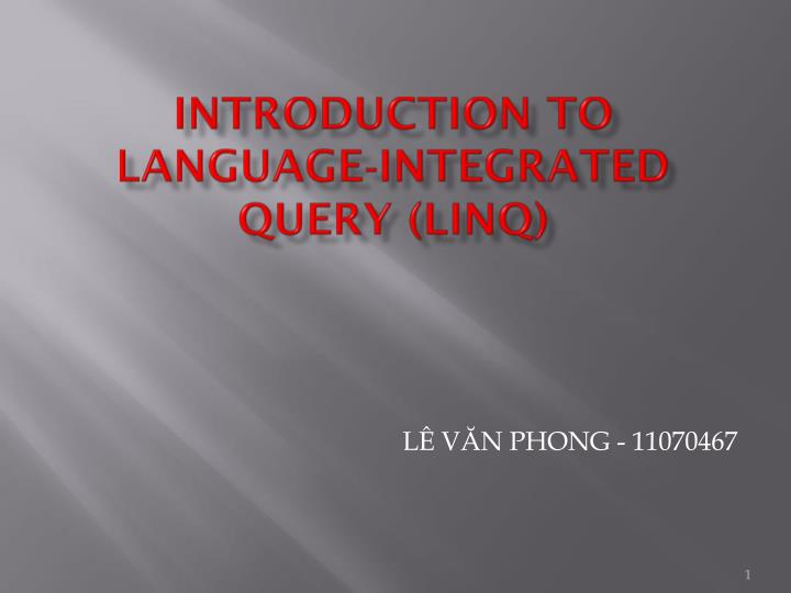 introduction to language integrated query linq n.