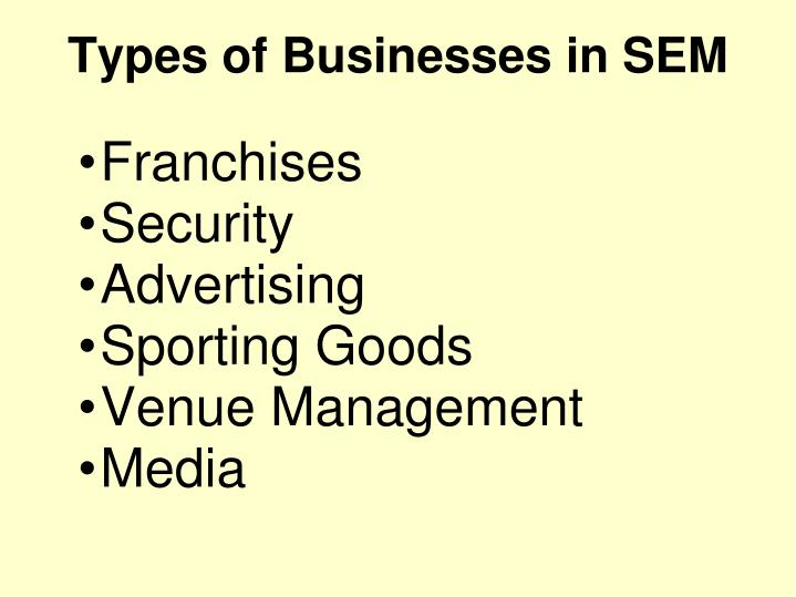 Franchises security advertising sporting goods venue management media