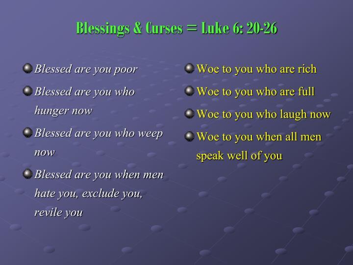 Blessings curses luke 6 20 26
