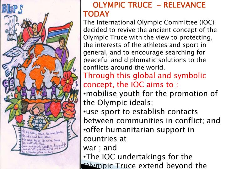 OLYMPIC TRUCE  - RELEVANCE  TODAY