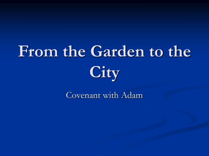 from the garden to the city n.