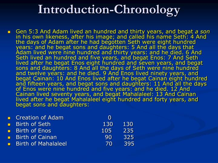 Introduction-Chronology
